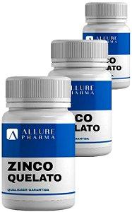 Kit 3 frascos Zinco Quelato 30mg com 30 cápsulas (Total 90 cápsulas) Imunidade Fortalecida