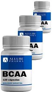 Kit 3 frascos BCAA - 120 cápsulas cada * Aminoácidos. Total 360 cápsulas. Desempenho Físico. Estimula Síntese Proteica *