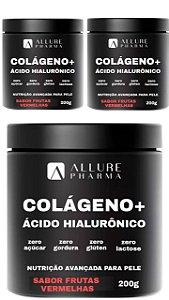 Kit 3 Potes Colágeno Hidrolisado + Ácido Hialurônico 200g - Sabor Frutas Vermelhas
