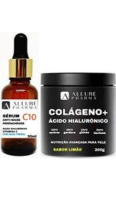 Kit Cuidado Facial - Antienvelhecimento. 1 Frasco Colágeno Hidrolisado Com Ácido Hialurônico 200g - Sabor Limão + 1 Frasco Sérum C10 Anti-Idade Preenchedor - 30ml