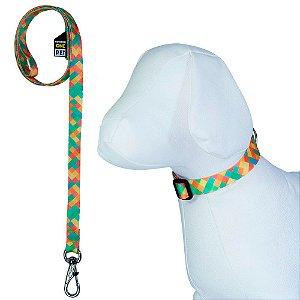 Coleira para Cachorro Ajustável com Guia Estampa Califórnia