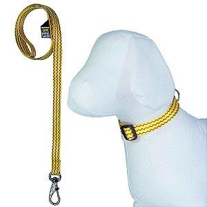 Coleira Cachorro Ajustável com Guia Estampa Poken