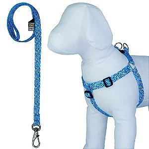 Peitoral para Cachorro Ajustável com Guia Estampa Boys