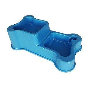 Comedouro e Bebedouro Cachorro Duplo Atóxico Ossinho Azul