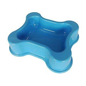 Comedouro para Cachorro Bebedouro Atóxico Ossinho Azul