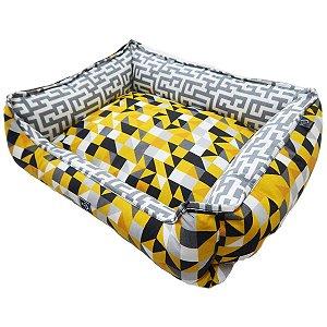 Cama cachorro retangular impermeável premium amarela