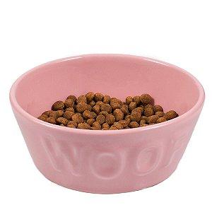 Comedouro Cachorro Cerâmica Rosa Woof Classic Tam P