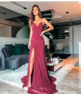 Vestido Hollywood Microtule Marsala
