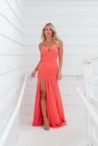 Vestido Hollywood Microtule Coral