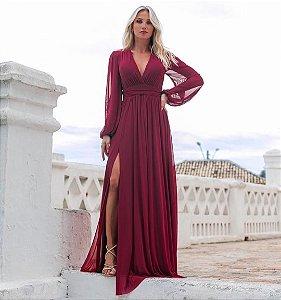 Vestido Fabiola Microtule Marsala