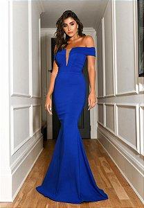Vestido Ombro a Ombro Decote Tule Azul Royal