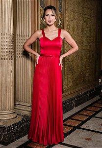 Vestido Crepe Plissado Vermelho