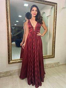 Vestido Seda 2 Tiras Marsala