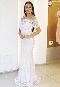 Vestido Sereia Tule Bordado Branco