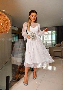 Vestido Tule Poá Branco