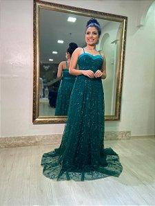 Vestido Decote Coração Tule Bordado Verde