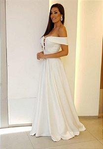 Vestido Crepe Princess  Branco