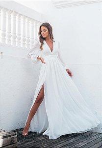 Vestido Fabiola Pontos de Brilho Off-White