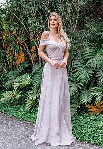 Vestido Sther Lurex Rosa