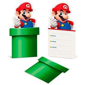 Convite de Aniversário Super Mario Bros 08 unidades