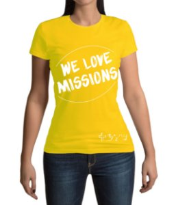 """We love Missions"" - Baby look amarela"