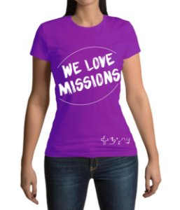 """We love Missions"" - Baby look roxa"