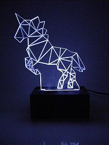 Luminária de acrílico - Unicórnio 3D - Branco