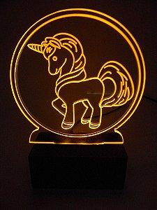 Luminária de acrílico - Unicórnio - Amarelo
