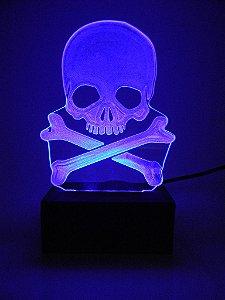 Luminária de acrílico - Caveira Pirata - Azul
