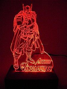 Luminária de acrílico - Thor – Os Vingadores - Vermelho