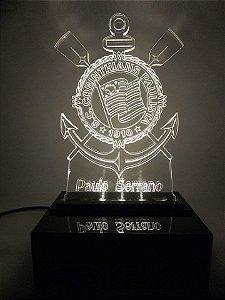 Luminária Abajour  de acrílico -  Corinthians Super Led