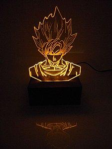 Luminária de acrílico - Dragon Ball Goku - Amarelo