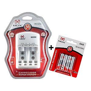 Kit 4 Pilhas MOX Recarregáveis AAA 1,2V 1000mah + Carregador