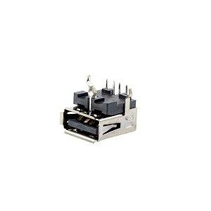 Conector USB Fêmea 90º com Pino Terra