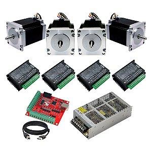 Kit 4 Motor de Passo 15Kg + 4 TB6600 + MACH3 USB + Fonte 24V