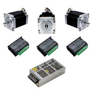 Kit 3 Motor de Passo 15Kg + 3 TB6600 + Fonte 24V