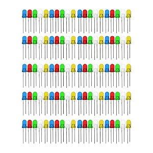 Kit LED Difuso 5mm Cores Variadas 100 unidades