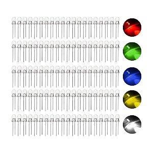 Kit LED Alto Brilho 5mm Cores Variadas 100 unidades