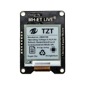 """Módulo E-PAPER 1.54"""" Display E-Ink Preto Tela SPI MH-ET LIVE"""