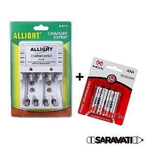Kit 4 Pilhas MOX Recarregáveis AAA 1,2V 1000mah + Carregador Allight