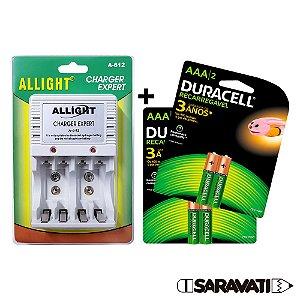 Kit 4 Pilhas Duracell Recarregáveis AAA + Carregador Allight