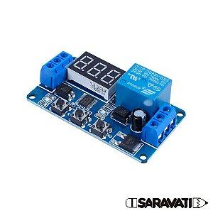 Módulo Temporizador Digital Programável 10V ~ 16V Relê 12V