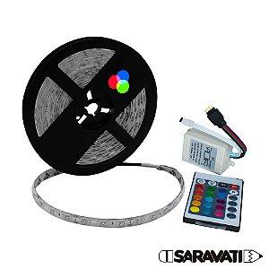 Fita de LED 5050 RGB 12V DC Silicone IP65 5 Metros