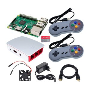 Kit Raspberry Pi 3 B Retrogame 64GB Case +2 Controles SNES