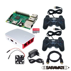 Kit Raspberry Pi 3 B Retrogame 64GB Case +2 Controles PS USB