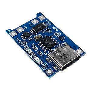 Módulo Carregador de Bateria Lítio TP4056 5V 1A USB-C