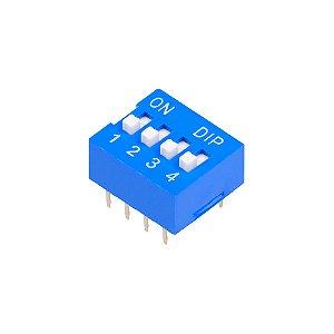 Chave DIP Switch KF1001 Azul 4 Vias 180
