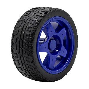 Roda Pneu de Borracha 68mm Carrinho/Robô/Motor DC (Azul)