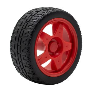 Roda Pneu de Borracha 68mm Carrinho/Robô/Motor DC (Vermelho)