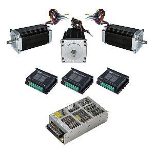 Kit 3 Motor Nema 23 21K + 3 TB6600 5A + Fonte 24V
